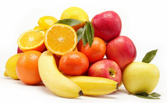 fruits on a white background.