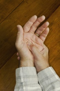 man with arthritic hands
