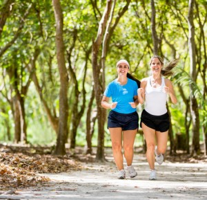 Women jogging outdoors
